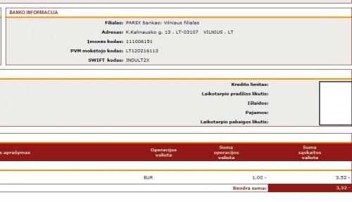 Parex kursas - 3,52 lito už eurą