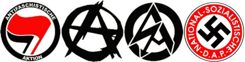 Antifa, anarchist ir naci logotipai