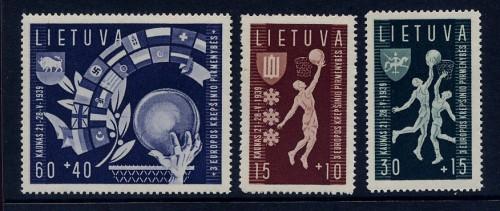Lietuva, 1939 Europos krepšinio pirmenybės. Pašto ženklai.