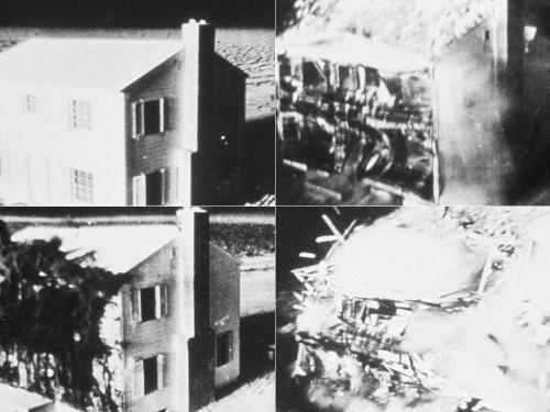 Nuo branduolinio sprogimo smūginės bangos griūnantis pastatas