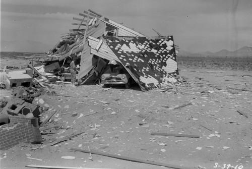 Atominio sprogimo sugriautas pastatas