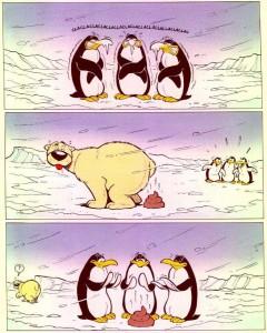 Pingvinai šildosi