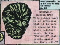 Guminės vilkolakio kaukės reklama