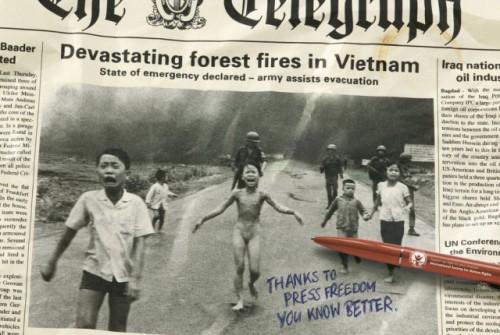 Vietname liaudis napalmu gesino gaisrus, tačiau kai kurie vaikai visgi nukentėjo