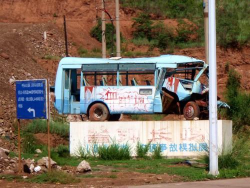 Sudaužytas autobusas Kinijoje