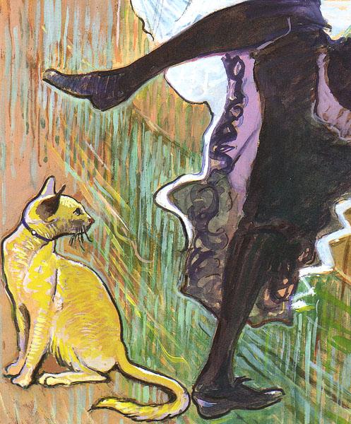 Katė žiūri moteriai po sijonu, į tarpukojį, nes galimai kvepia žuvimi. Panašu, kad tai Henri de Toulouse-Lautrec kūryba.