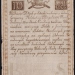 Tado Kosciuškos banknotas, popierinis 1794 metų pinigas, 10 zlotų