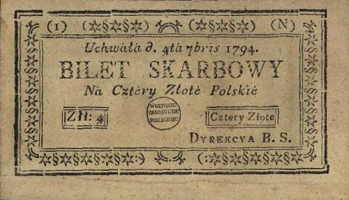 Tado Kosciuškos banknotas, popierinis 1794 metų pinigas, 4 zlotai