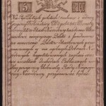 Tado Kosciukos banknotas, popierinis 1794 met pinigas, 5 zlotai