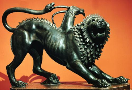 Chimera - toksai keistas padaras - liūtas su ožio galva iš nugaros augančia, o ir uodega - gyvatė. Klaikus, beprasmis, pavojingas ir absurdiškas. Biurokratinė sistema Lietuvoje daug kuo primena šitokį monstrą.
