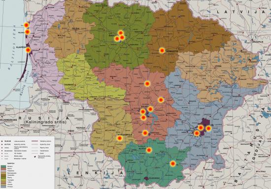 Vat jums tie visi taškai, kur branduolinis bombardavimas galėjo vykti karo atveju, 1959 metais, pagal 1956 metų sąrašus. Čia išdėsčiau ant dabartinės Lietuvos žemėlapio, kad būtų pakankamai aišku visiems.