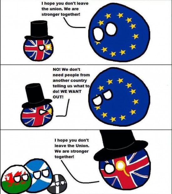 Didysis paradoksas tame, kad pati Didžioji Britanija savo esme jau šimtus metų yra federacinė valstybė, kuri daugybę metų integravosi ir centralizavosi. Kaip Europos Sąjunga. Ir jie labai gerai žino, kodėl verta būti kartu. Bet kažkur galvose kažkas nesusieina matyt. Užsitrumpina neuronai kokie nors.