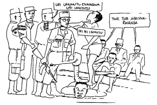 """Tos pačios Tūkstančio kalvų laisvės radijo stoties įkūrėjas nuo 1990 leido propagandinį žurnalą """"Kangura"""", kuriame irgi platino savo neapykantą. Ir žinoma, tutsiai buvo vaizduojami kaip hutu žmonių naikintojai. Karikatūroje Belgijos taikdariškų UNAMIR pajėgų kareivis klausia bejėgio žmogaus: """"Tu esi Tutsi ar Hutu"""". Paul Kagame (Tutsių pasipriešinimo vadas) sako: """"Šitas yra Hutu"""". Žmonių dauguma atsako: """"Mes esame ruandiečiai!"""". Lyg ir gana nekaltos karikatūros ir tekstai buvo naudojami maksimaliam hutų ir tutsių supriešinimui - pasiekti. Galutinis rezultatas - nuo pusės milijono iki milijono nužudytų žmonių."""